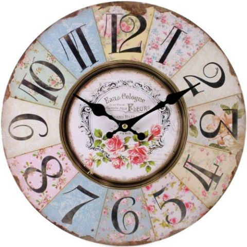 Floral Patchwork 32723 - Large Rustic Retro Kitchen Wall Clock 34cm